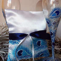Hand painted Satin white ring bearer pillow peacock feathers in white and blue personalized wedding favor