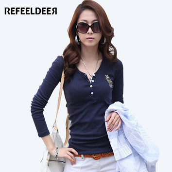 Refeeldeer Embroidery T-shirt Women 2017 Long Sleeve T-shirt Female Blue White Black T shirt Women Tops Tee Shirt Femme Tshirt