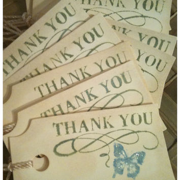 Butterfly Thank You Tags Vintage Victorian Inspired Whitewashed Anitque Linen Cornflower Blue Olive Green Small Manila Set of 10