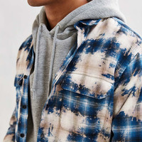 UO Ellis Bleached Shadow Plaid Flannel Button-Down Shirt - Urban Outfitters