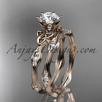 "14kt rose gold diamond celtic trinity knot wedding ring, engagement set with a ""Forever Brilliant"" Moissanite center stone CT7132S"