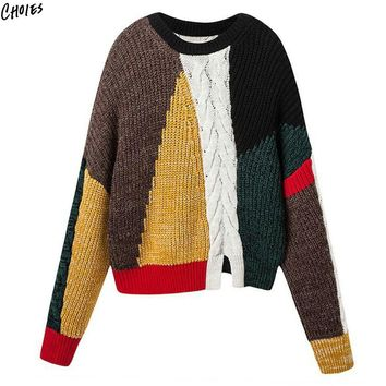 Color Block Winter Jumper Chunky Cable Knitted Sweater Women Long Sleeve O Neck Silt Front Drop Shoulder Novelty Pullover Top