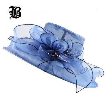 [FLB] Brim Foldable Wedding Dress Church Hats Beach Summer Fashion Hats For Women Gorras Sun Trilby Cap Sun Derby Hat