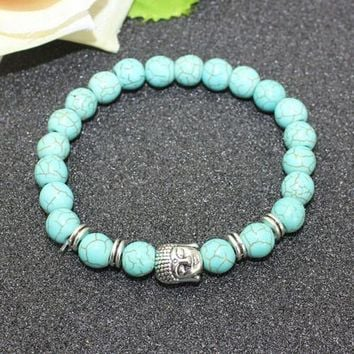8mm Natural Turquoise Stone Beads Bracelet for Women,Antique Silver and Gold Lion/Buddha/Leopard/Skull Bracelets Mens Jewelry vintagesilver buddha