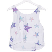 Holographic Silver All Over Stars Graphic Tee Crop Top