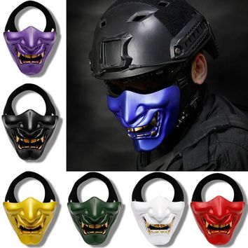 Halloween Party Laugh Devil Terror Female Male Faces Half Face Mask Tactical Reality Black Golden Blue Purple White Green Red