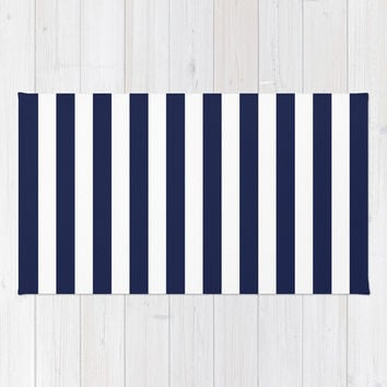 Stripe Vertical Navy Blue Rug By Beautiful Homes
