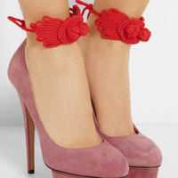 Charlotte Olympia Eternally Dolly embellished suede pumps – 50% at THE OUTNET.COM