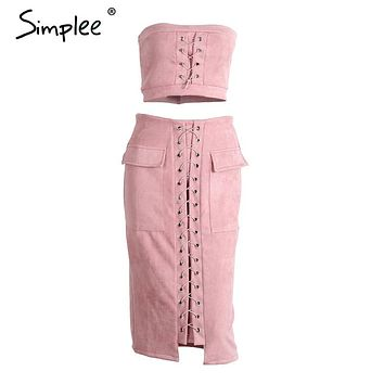 Simplee Autumn lace up suede lether sexy dress Off shoulder high waist two piece suit bodycon dress Retro christmas party dress
