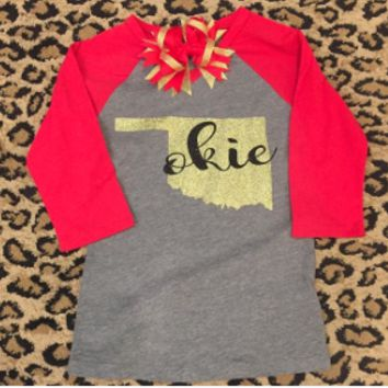 OKIE with glitter 3/4 length t-shirt