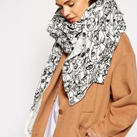 ASOS Faces Print Oversized Scarf at asos.com
