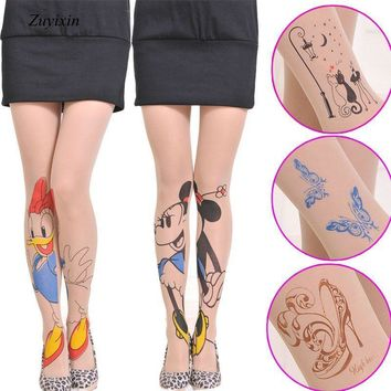 Zuyixin Women Tights 20 Style for Choice Tattoo Pattern Transparent Sheer Pantyhose Tights Lovely Fashion Women Accessories
