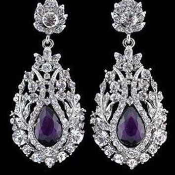Purple Big Teardrop Crystal Bridal Long Earrings
