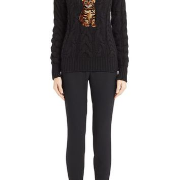 Dolce&Gabbana Cat & Star Embellished Cable Cashmere Sweater | Nordstrom