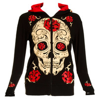 Jawbreaker Rose Skull Hoodie (Black) | Blue Banana UK