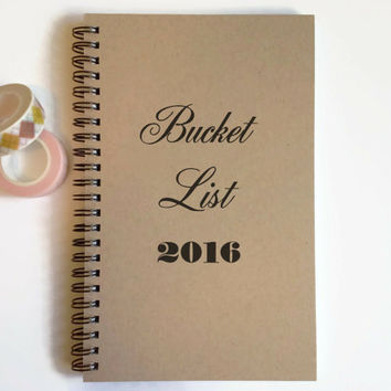 Writing journal, spiral notebook, cute diary, small sketchbook, scrapbook, memory book - Bucket List 2016, New Year resolutions, to do list