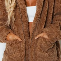 For Your Pleasure Teddy Faux Fur Long Sleeve Zip Front Coat Outerwear - 3 Colors Available