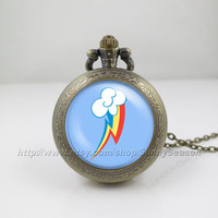My little pony Pocket Watch,My little pony rainbow dash pegasus cutie mark Pendant Necklace, rainbow cutie mark Locket necklace,Pocket Watch