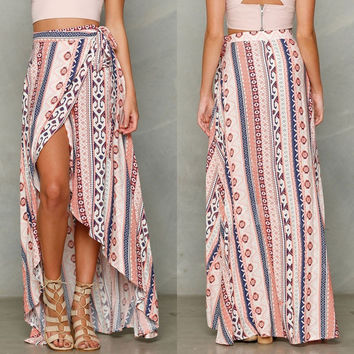 2016 Psychedelic Floral Print Women's Boho Tribal Floral Maxi Summer Beach Long Casual Dress High Quality