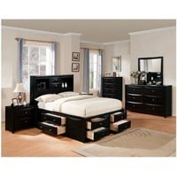 ACM 5 pc Manhattan Collection black finish wood queen captains bookcase headboard bedroom set with storage drawers underneath