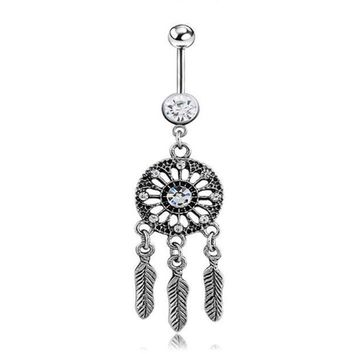 ac PEAPO2Q New Dangle Dreamcatch Tassel Rhinestone Body Piercing Dangle Crystal Navel Belly Button Bar Barbell Rings Free shipping