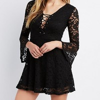Lace-Up Bell Sleeve Lace Skater Dress | Charlotte Russe