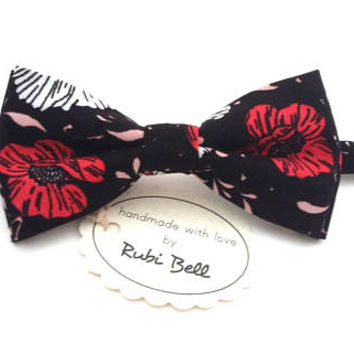 Bow Tie - floral bow tie - wedding bow tie - black bow tie with red floral pattern - grooms bow tie