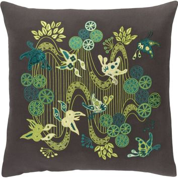 Chinese River Throw Pillow Black, Green