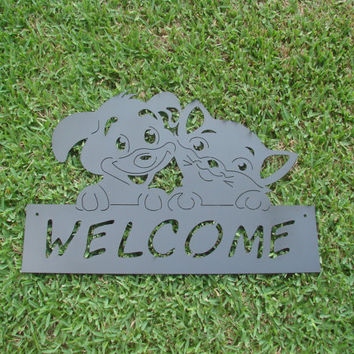 Welcome Dog and Cat 16 Gauge Outdoor Metal Wall Sign
