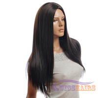 "26"" long Straight without Bangs Synthetic Wigs for Women Basic Cap Black"
