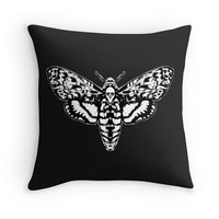 Death Head Moth throw pillow