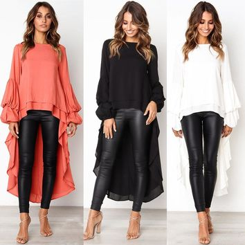2018 Ladies Fall New Long Blouse Fashion Puff Sleeve Baggy Asymmetric Chiffon Long Shirts Lantern Long Sleeve Top Blusa Feminina