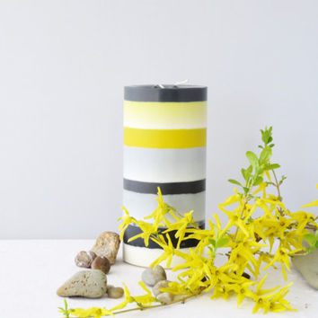 Black white and yellow candle, dabble wick candle, soy pillar candle, home décor, center piece, bold colors candle, unscented candle
