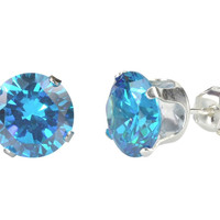 Sterling Silver Round Blue Topaz CZ Cubic Zirconia Stud Earrings