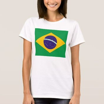Women T Shirt with Flag of Brazil