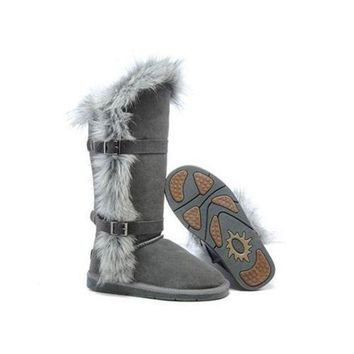 DCCKIN2 Ugg Boots Outlet Fox Fur tall 1984 Grey For Women 95 95