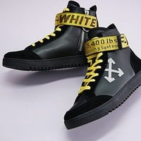 Off-White Arrows High Top Sneakers Black High Skateboarding Shoe