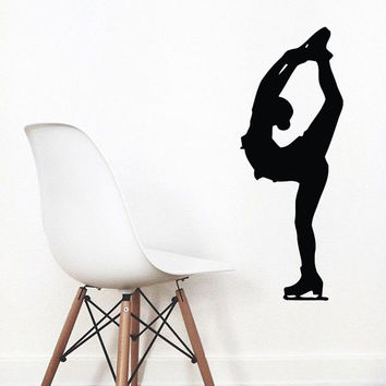 Wall Decals Girl Figure Skater Ice Skating Sport People Home Vinyl Decal Sticker Kids Nursery Baby Room Decor kk513
