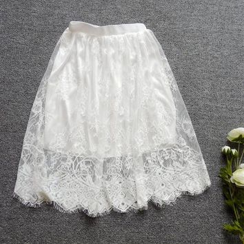 Skirt New 2017 Cute Full Lace Embroidery Tulle Skirt Mini Skirts Fashion Woman translucence Skirts Pleated Skirt 72421