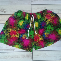 Colorful festival clothing Unique Print Summer Beach Shorts Chic Fashion Tribal Aztec Ethnic Bohemian Ikat Cloth Hobo Cute comfy Pink tone