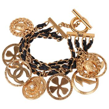 1995 Chanel Multi-Strand Woven Leather & Chain Charm Bracelet w/8 Charms
