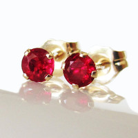 Ruby Stud Earrings 3.5 mm Studs Gemstone 14K Yellow Gold Earrings Bridesmaid Gift Wedding Jewelry Anniversary Gift
