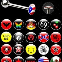 Logo Tongue Ring 10 Pieces Assorted Tongue Piercing Barbells 14 Gauges with 1 Tongue Retainer Assorted