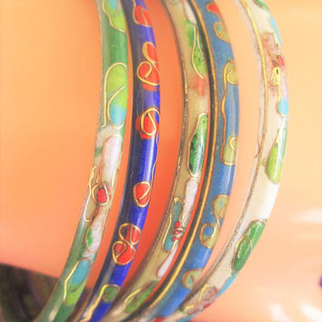 Cloisonne Bangle Bracelets Set of 5 Enamel Floral Vintage Asian Chinese Ethnic Art Jewelry