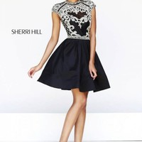 Black Sherri Hill 4300 Patterned Party Dress [4300] - $235.00 : 2015 Dress Gown Store|DressGownStore.com