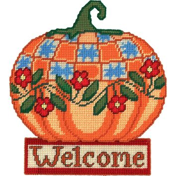 "Welcome Pumpkin (7 Count) Design Works Plastic Canvas Wall Decor Kit 13""X15"""