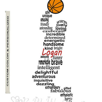 Personalized Boy Basketball Player Art, Unique Handmade Word Art Typography, Basketball Player Word Art, PRINTABLE DIGITAL FILE