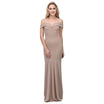 Taupe Off Shoulder Mermaid Style Evening Gown with Sweetheart Neckline