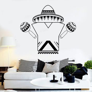 Vinyl Wall Decal Mexican Dress Art Sombrero Mexico Stickers Unique Gift (ig3818)