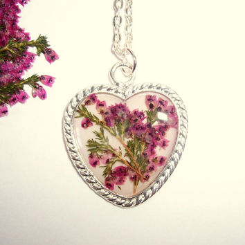 Real Heather Pressed Flower Resin Heart Necklace